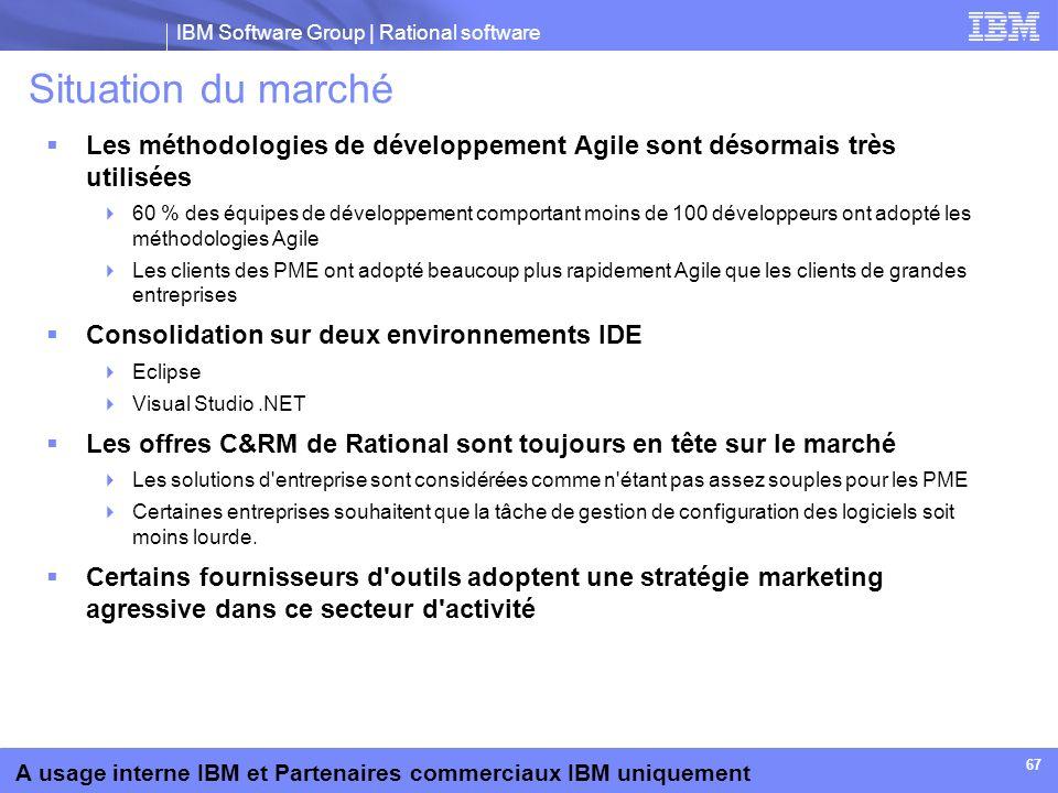 IBM Software Group | Rational software A usage interne IBM et Partenaires commerciaux IBM uniquement 67 Situation du marché Les méthodologies de dével