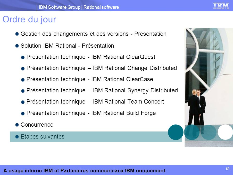 IBM Software Group | Rational software A usage interne IBM et Partenaires commerciaux IBM uniquement 69 Ordre du jour Gestion des changements et des v