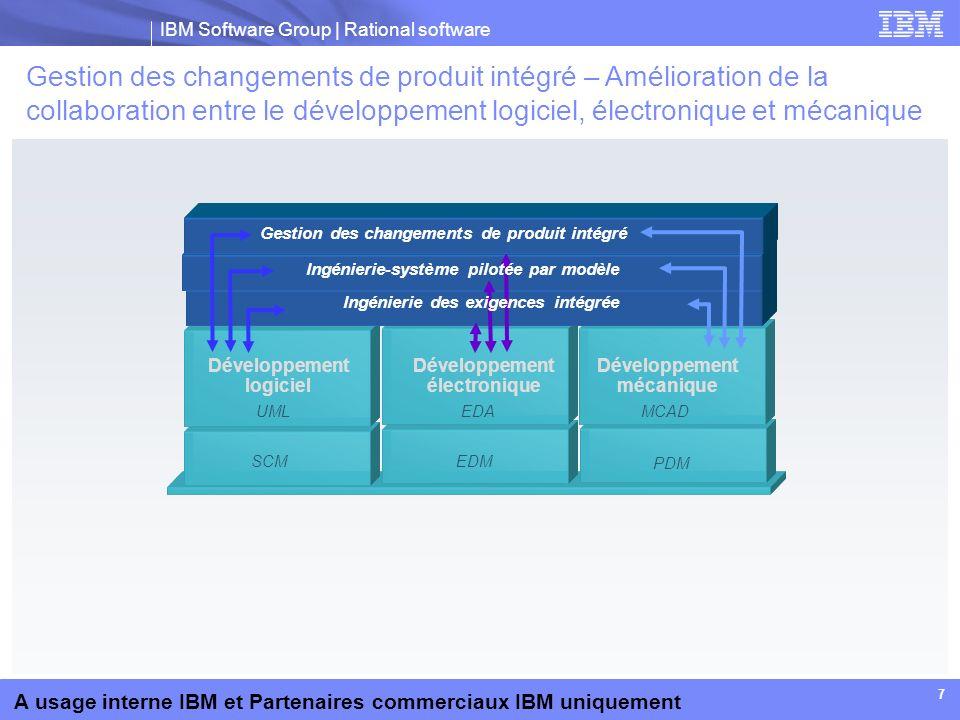 IBM Software Group | Rational software A usage interne IBM et Partenaires commerciaux IBM uniquement 8 Impact de la gestion des changements de produit intégré Réduction du délai de propagation des changements à l ensemble de l équipe de conception Réduction du temps de réponse lors de la conception et la résolution des erreurs Réduction de la détection tardive des changements oubliés dans le projet Optimisation des investissements dans les systèmes PDM, logiciels et électroniques