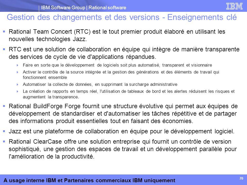 IBM Software Group | Rational software A usage interne IBM et Partenaires commerciaux IBM uniquement 70 Gestion des changements et des versions - Ense