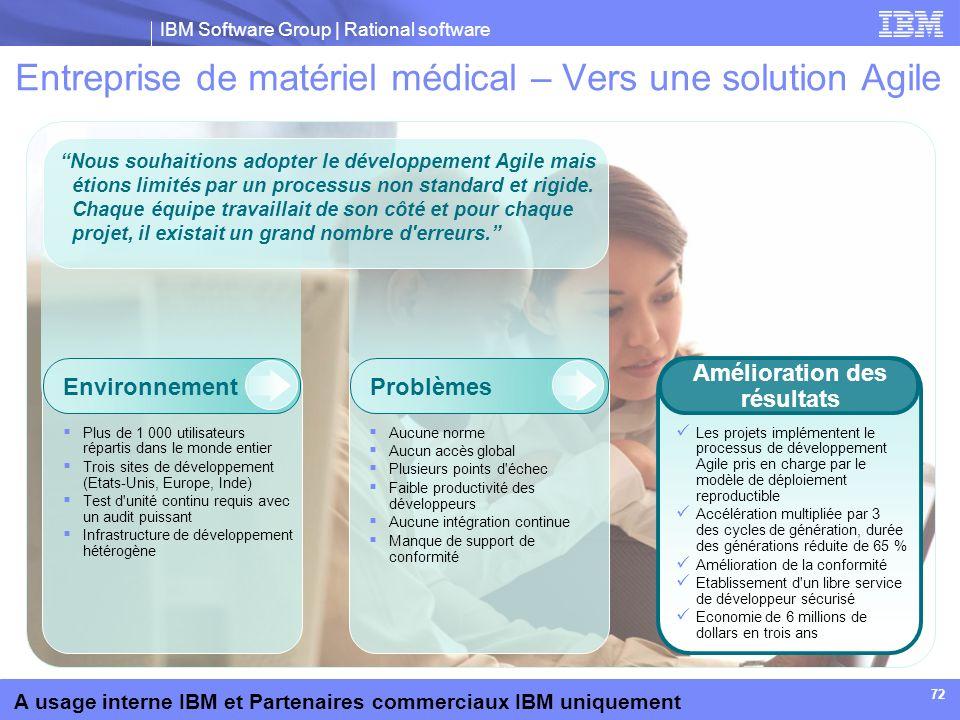 IBM Software Group | Rational software A usage interne IBM et Partenaires commerciaux IBM uniquement 72 Entreprise de matériel médical – Vers une solu
