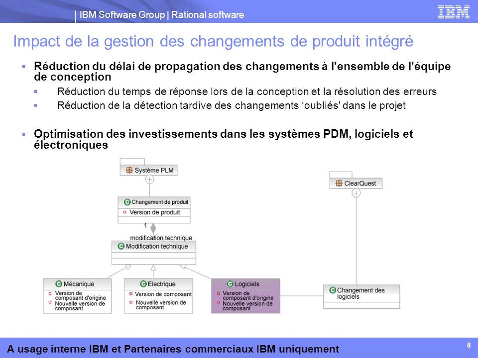 IBM Software Group | Rational software A usage interne IBM et Partenaires commerciaux IBM uniquement 8 Impact de la gestion des changements de produit