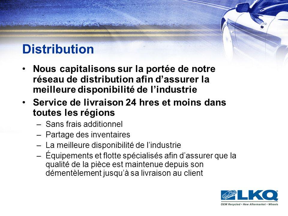 Distribution Nous capitalisons sur la portée de notre réseau de distribution afin dassurer la meilleure disponibilité de lindustrie Service de livrais