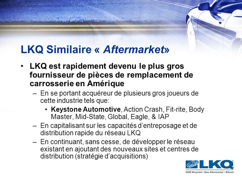 LKQ Similaire « Aftermarket» LKQ est rapidement devenu le plus gros fournisseur de pièces de remplacement de carrosserie en Amérique –En se portant ac