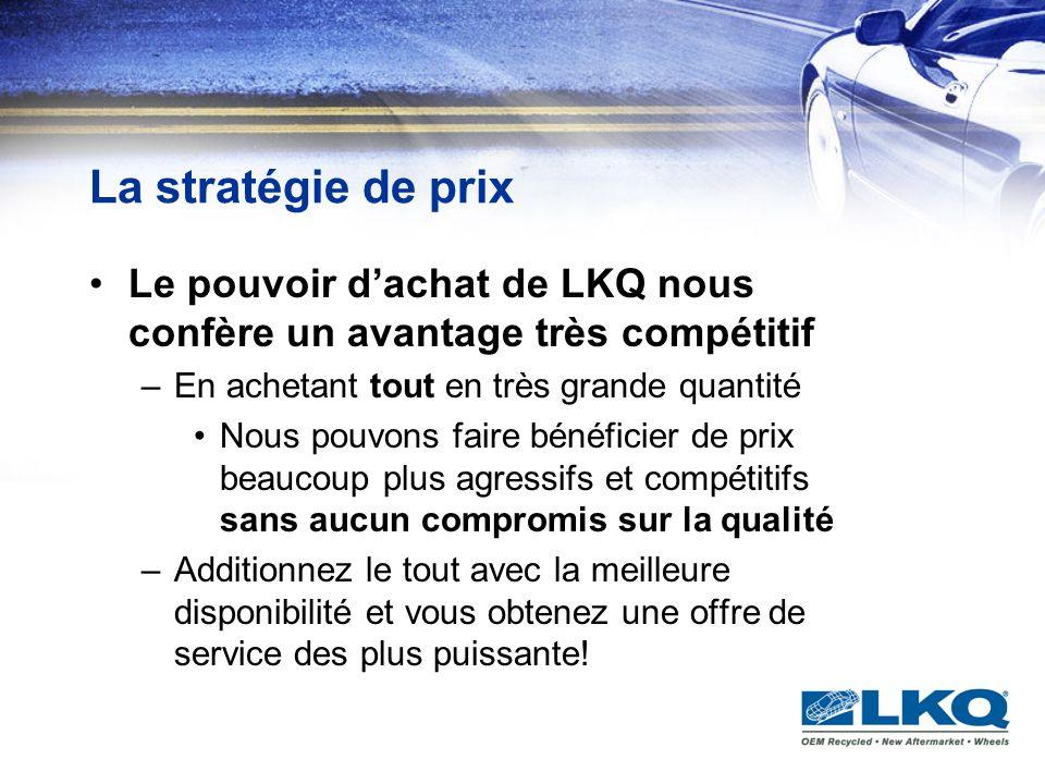 La stratégie de prix Le pouvoir dachat de LKQ nous confère un avantage très compétitif –En achetant tout en très grande quantité Nous pouvons faire bé