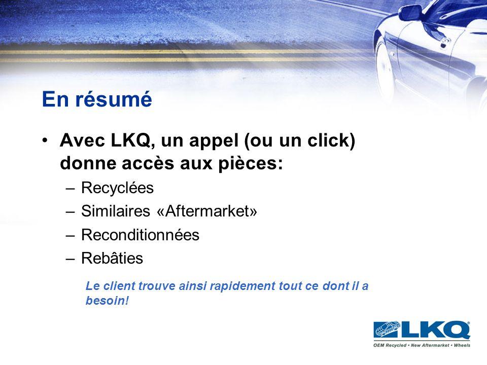 En résumé Avec LKQ, un appel (ou un click) donne accès aux pièces: –Recyclées –Similaires «Aftermarket» –Reconditionnées –Rebâties Le client trouve ai