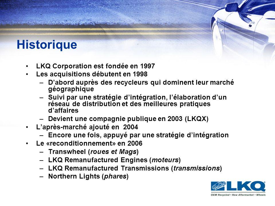 Historique (suite) Au début 2007, LKQ se porte acquéreur de Dominion Autos situé à Hamilton en Ontario Le 2 juillet 2007, LKQ procède à lannonce de lacquisition du Groupe Pintendre dans la région de Québec Le 10 octobre de la même année, ayant obtenu le feu vert des actionnaires et des autorités financières, LKQ achète KEYSTONE AUTOMOTIVE