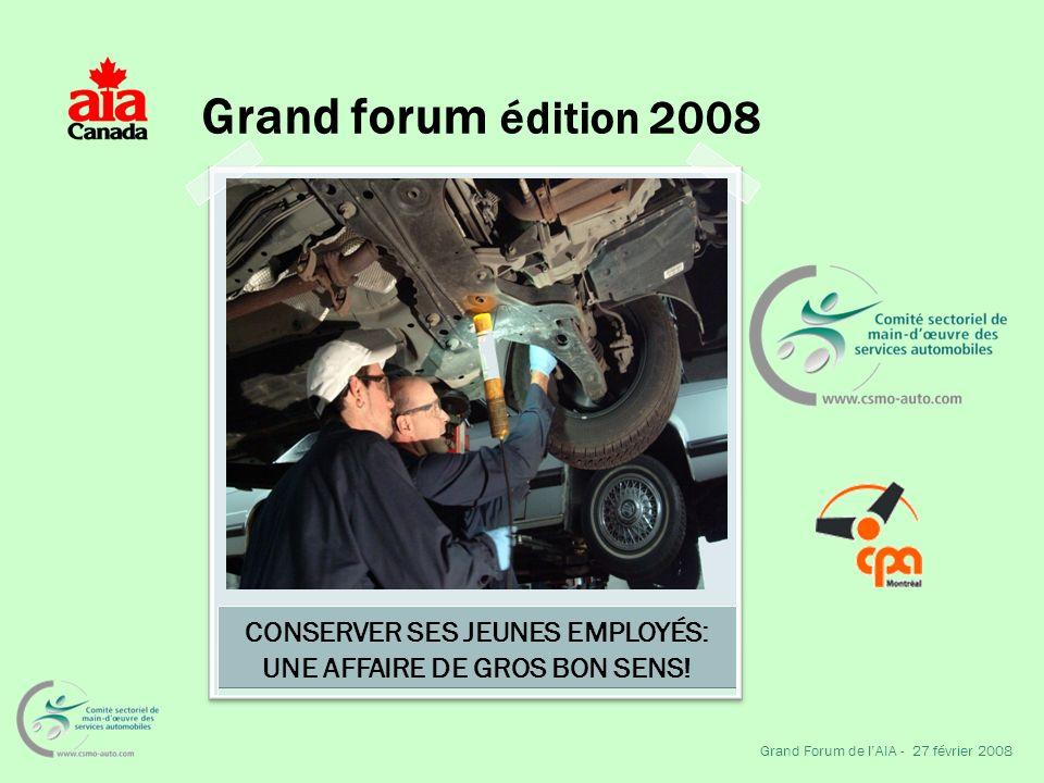 Grand forum édition 2008 Grand Forum de lAIA - 27 février 2008 CONSERVER SES JEUNES EMPLOYÉS: UNE AFFAIRE DE GROS BON SENS!