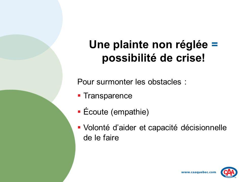 Une plainte non réglée = possibilité de crise.