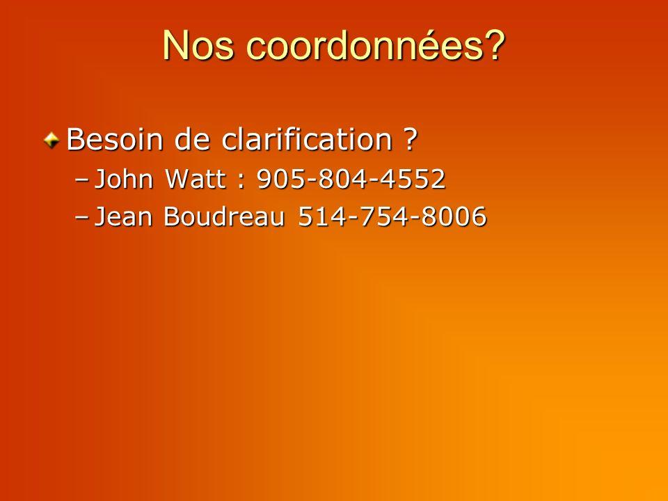 Nos coordonnées Besoin de clarification –John Watt : 905-804-4552 –Jean Boudreau 514-754-8006