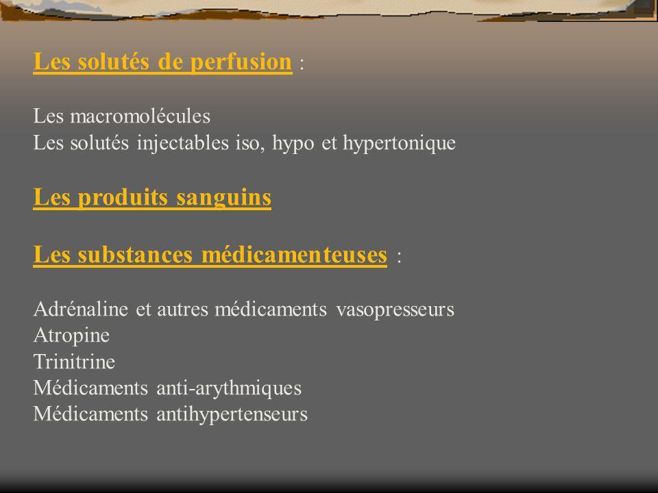Les solutés de perfusion : Les macromolécules Les solutés injectables iso, hypo et hypertonique Les produits sanguins Les substances médicamenteuses :