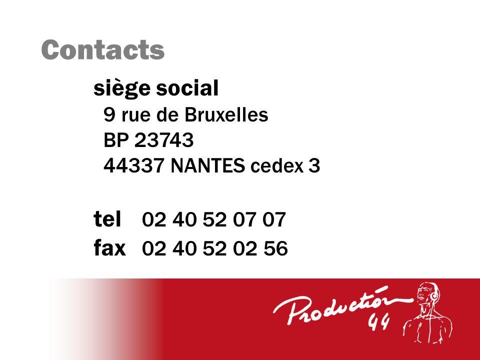 Contacts siège social 9 rue de Bruxelles BP 23743 44337 NANTES cedex 3 tel 02 40 52 07 07 fax 02 40 52 02 56