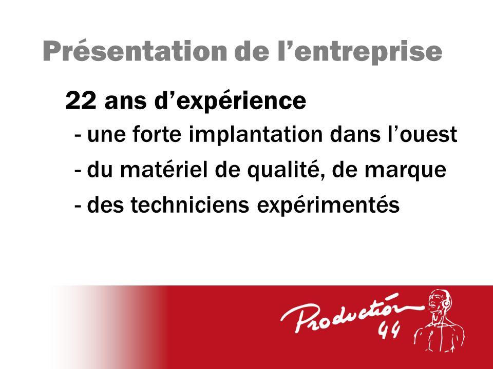 Présentation de lentreprise 22 ans dexpérience - une forte implantation dans louest - du matériel de qualité, de marque - des techniciens expérimentés
