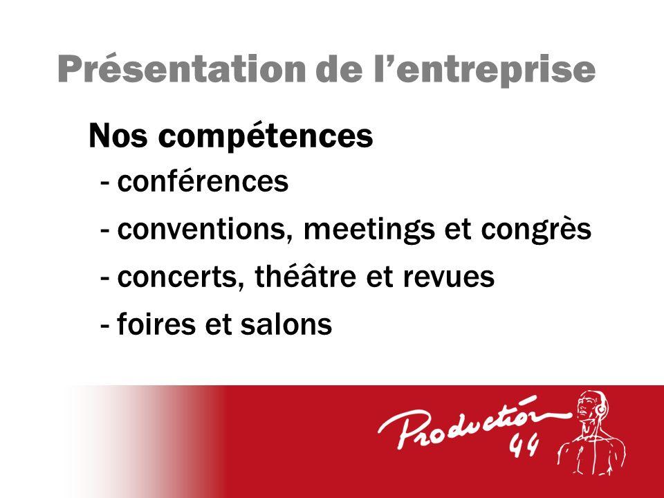 Présentation de lentreprise Nos compétences - conférences - conventions, meetings et congrès - concerts, théâtre et revues - foires et salons