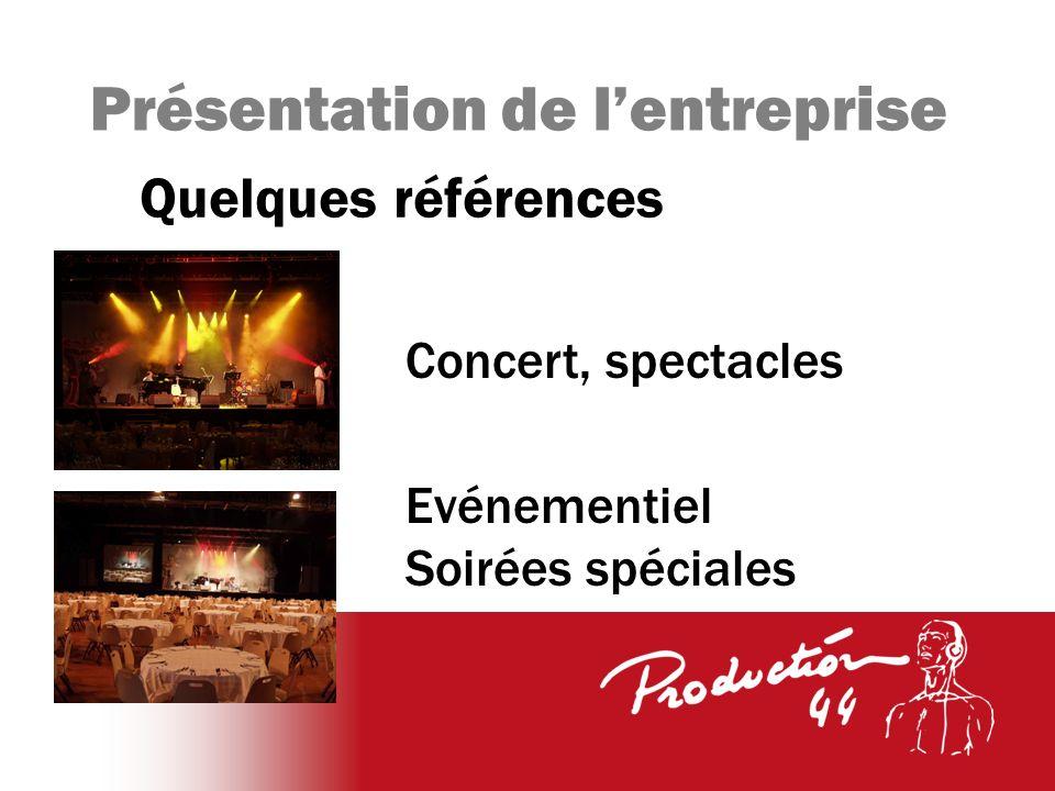 Présentation de lentreprise Quelques références Concert, spectacles Evénementiel Soirées spéciales