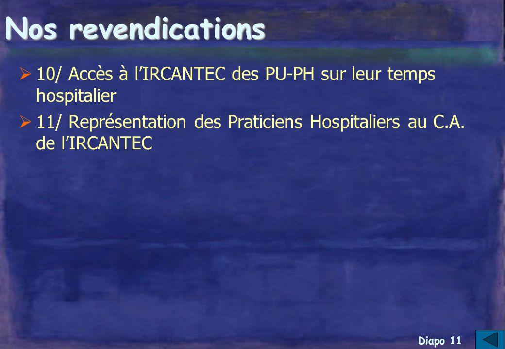 Diapo 10 Nos revendications 5/ Prise en compte des préjudices de carrière et cotisation des P.H.