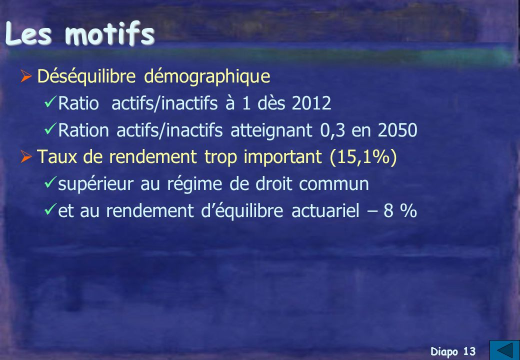 Diapo 12 II- Projet de réforme de lIRCANTEC (à partir de janvier 2006)