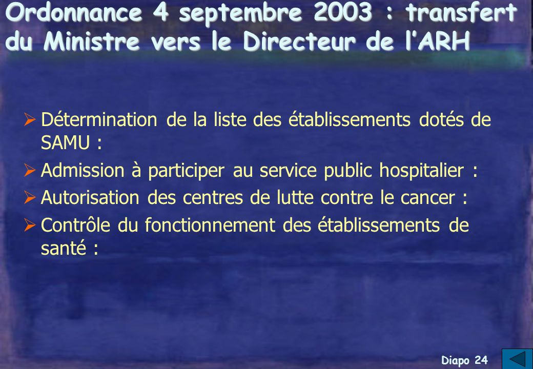 Diapo 23 Rappel : les modifications instaurées par lordonnance du 4 septembre 2003
