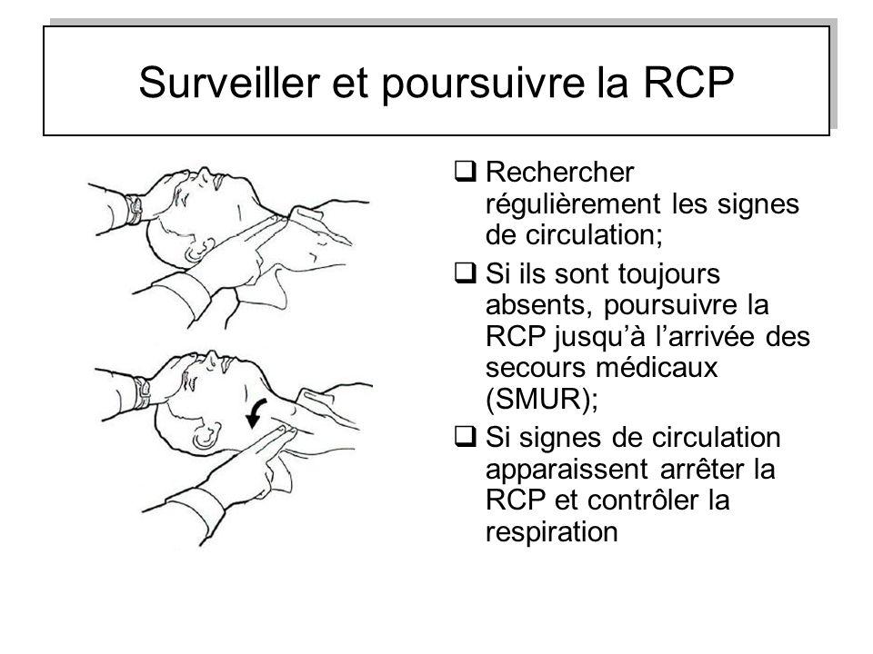 Surveiller et poursuivre la RCP Rechercher régulièrement les signes de circulation; Si ils sont toujours absents, poursuivre la RCP jusquà larrivée de