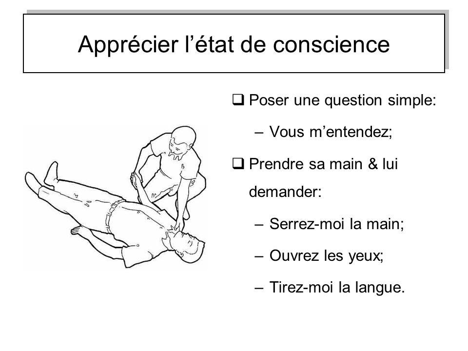 Apprécier létat de conscience Poser une question simple: –Vous mentendez; Prendre sa main & lui demander: –Serrez-moi la main; –Ouvrez les yeux; –Tire