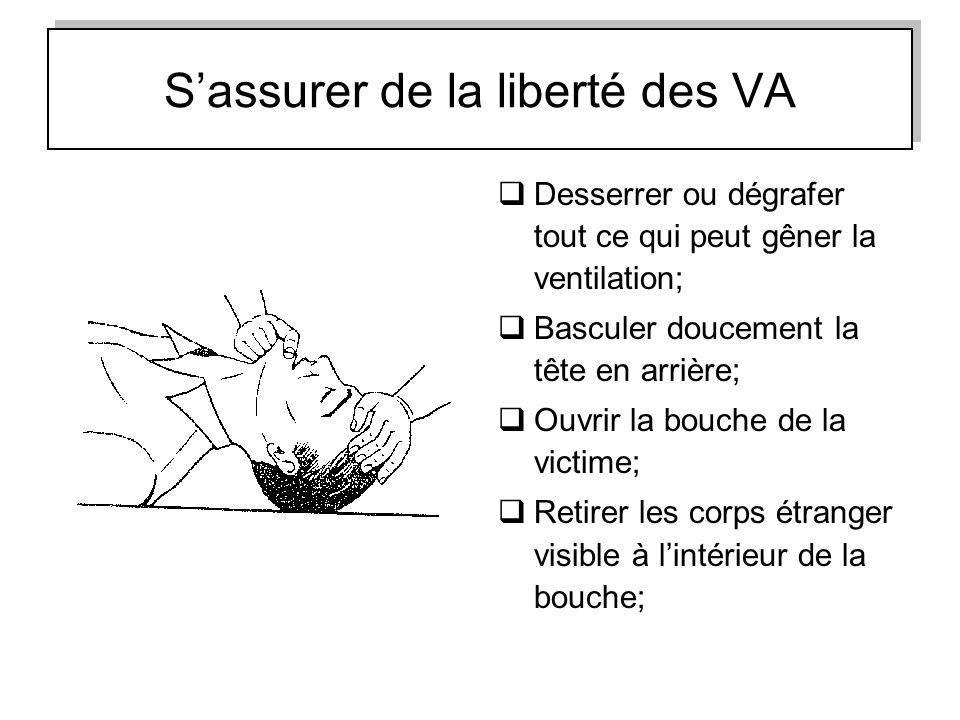 Sassurer de la liberté des VA Desserrer ou dégrafer tout ce qui peut gêner la ventilation; Basculer doucement la tête en arrière; Ouvrir la bouche de