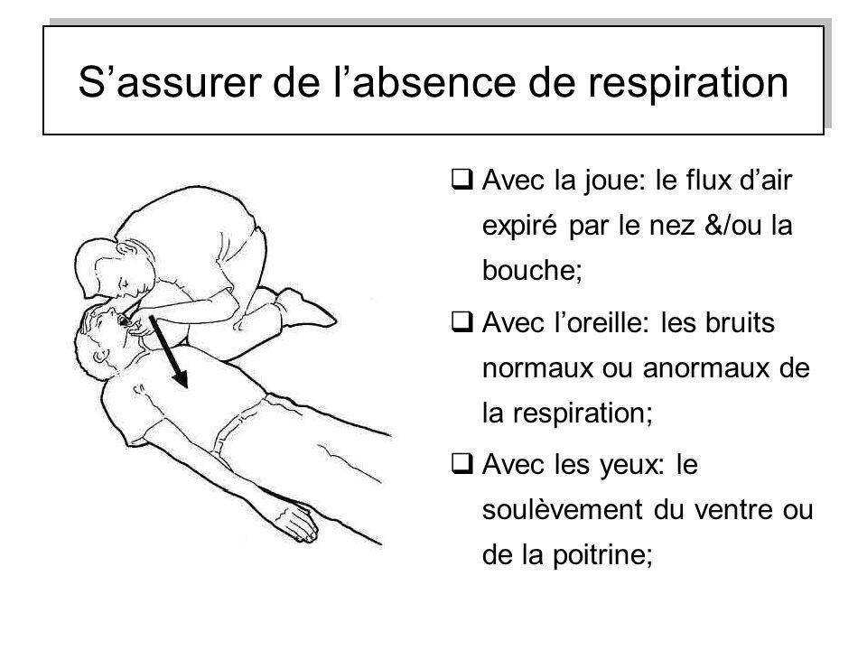 Sassurer de labsence de respiration Avec la joue: le flux dair expiré par le nez &/ou la bouche; Avec loreille: les bruits normaux ou anormaux de la r