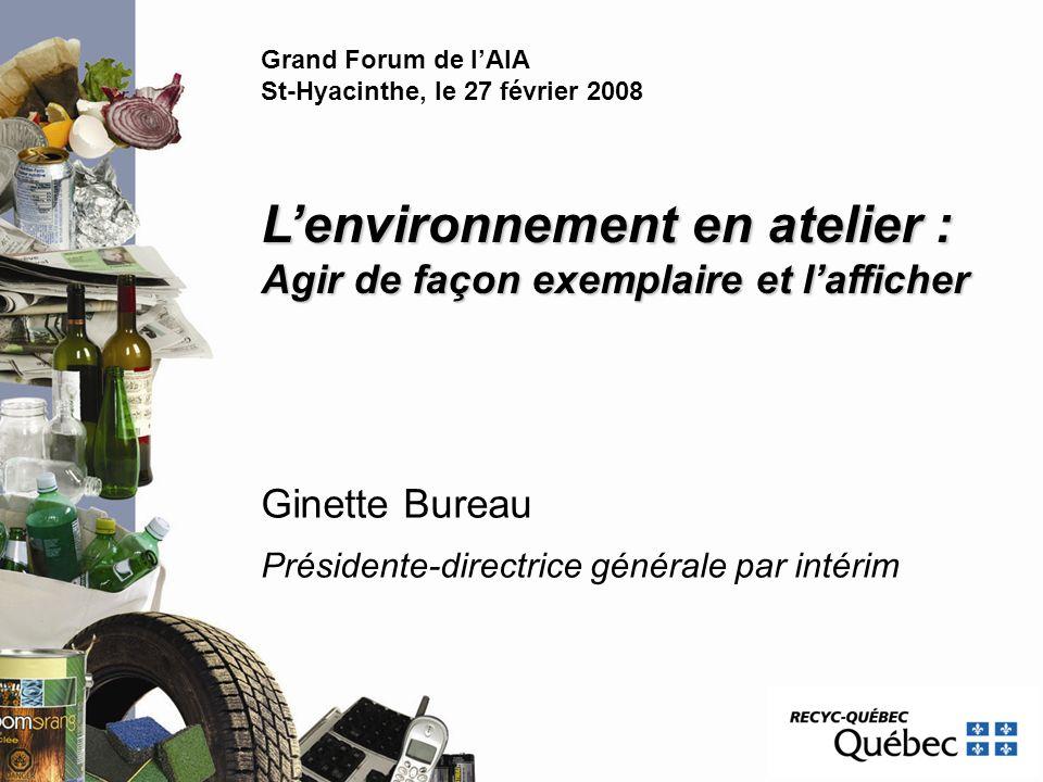 Ginette Bureau Présidente-directrice générale par intérim Lenvironnement en atelier : Agir de façon exemplaire et lafficher Grand Forum de lAIA St-Hya