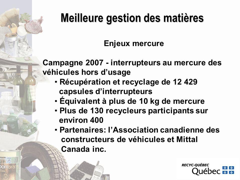 Meilleure gestion des matières Enjeux mercure Campagne 2007 - interrupteurs au mercure des véhicules hors dusage Récupération et recyclage de 12 429 c