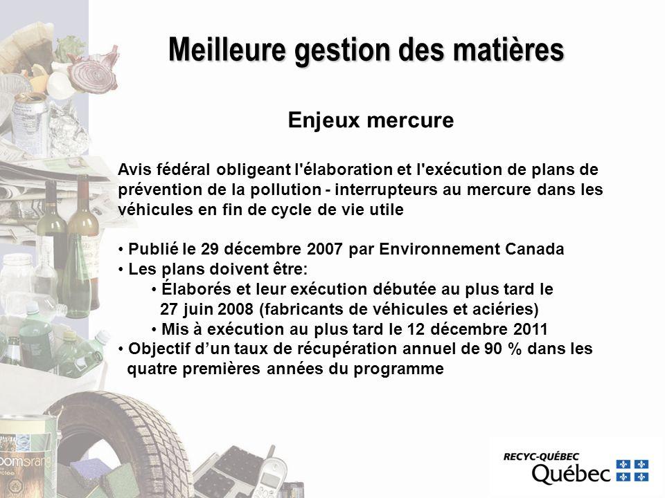 Meilleure gestion des matières Enjeux mercure Avis fédéral obligeant l'élaboration et l'exécution de plans de prévention de la pollution - interrupteu