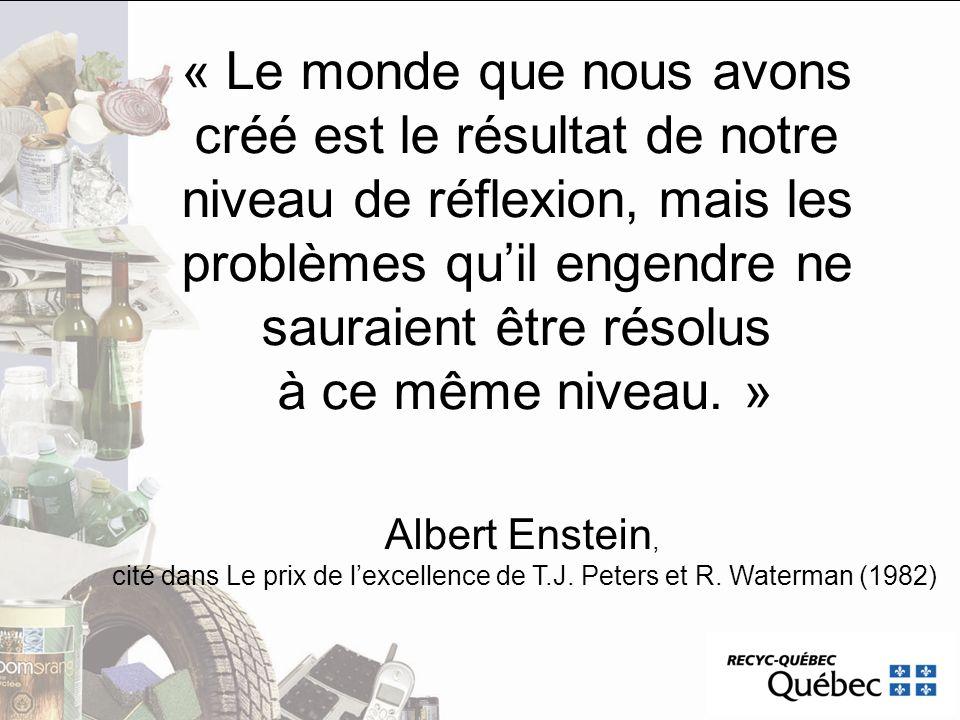 « Le monde que nous avons créé est le résultat de notre niveau de réflexion, mais les problèmes quil engendre ne sauraient être résolus à ce même nive