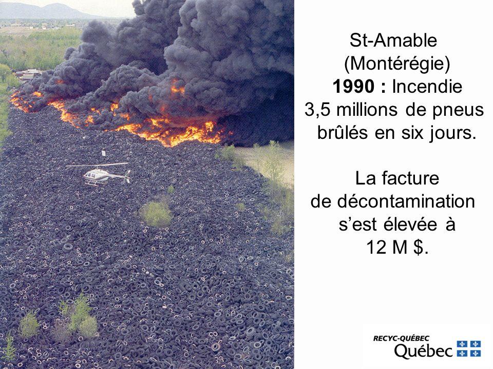 St-Amable (Montérégie) 1990 : Incendie 3,5 millions de pneus brûlés en six jours. La facture de décontamination sest élevée à 12 M $.