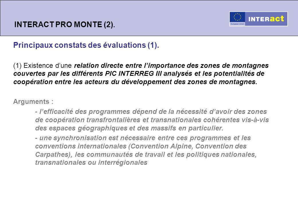INTERACT PRO MONTE (3).Principaux constats des évaluations (2).