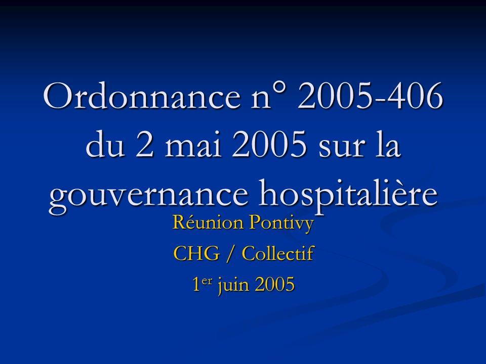 Ordonnance n° 2005-406 du 2 mai 2005 sur la gouvernance hospitalière Réunion Pontivy CHG / Collectif 1 er juin 2005