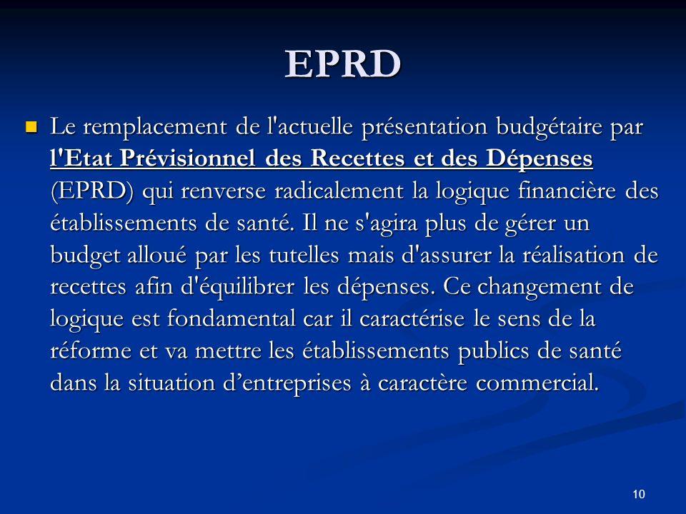 10 Le remplacement de l'actuelle présentation budgétaire par l'Etat Prévisionnel des Recettes et des Dépenses (EPRD) qui renverse radicalement la logi