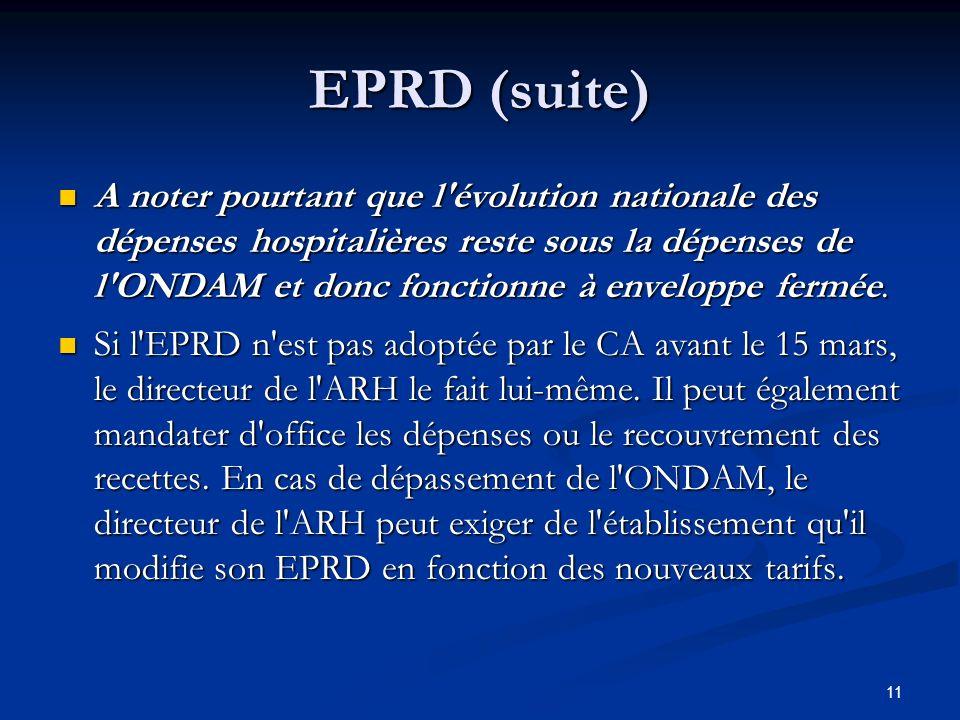 11 EPRD (suite) A noter pourtant que l'évolution nationale des dépenses hospitalières reste sous la dépenses de l'ONDAM et donc fonctionne à enveloppe