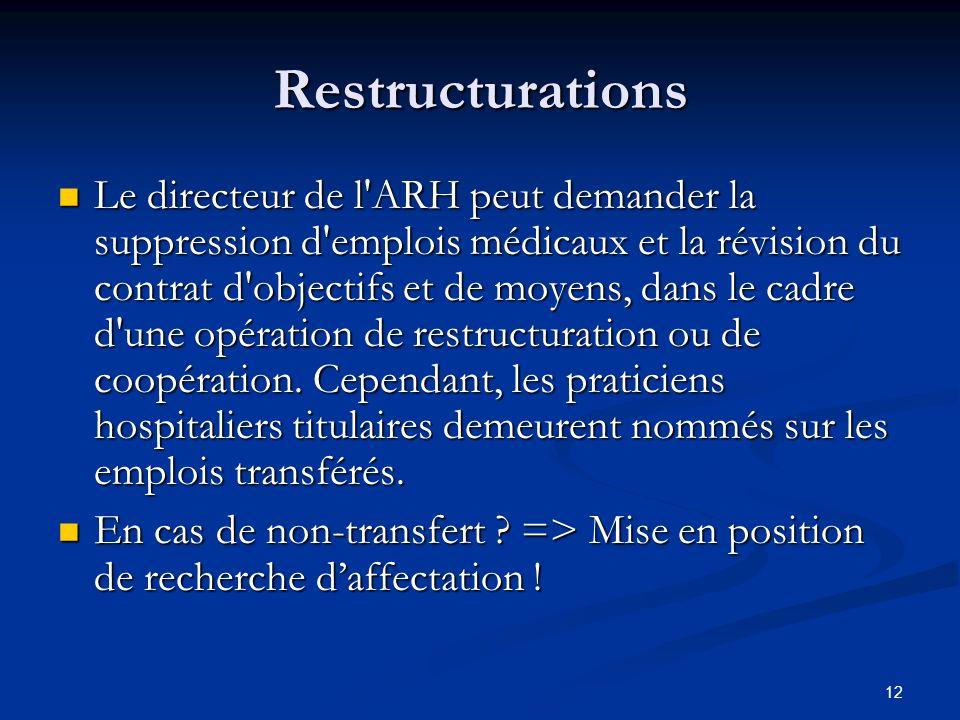 12 Restructurations Le directeur de l'ARH peut demander la suppression d'emplois médicaux et la révision du contrat d'objectifs et de moyens, dans le