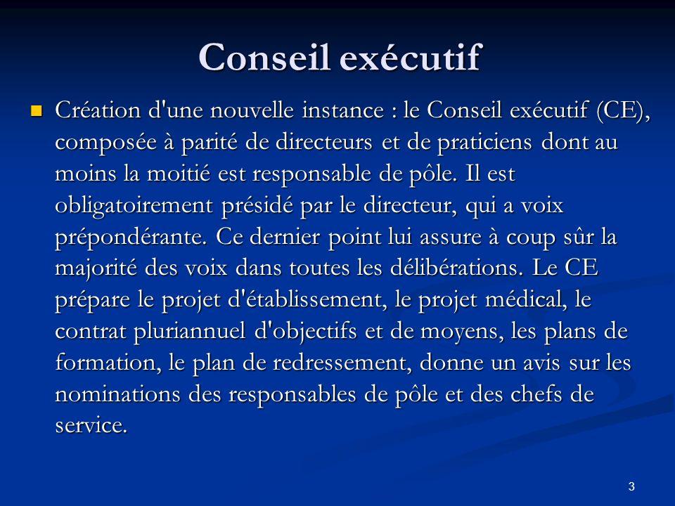 3 Conseil exécutif Création d'une nouvelle instance : le Conseil exécutif (CE), composée à parité de directeurs et de praticiens dont au moins la moit