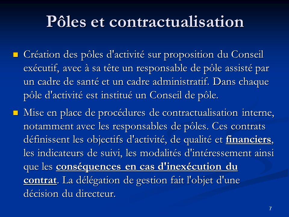 7 Pôles et contractualisation Création des pôles d'activité sur proposition du Conseil exécutif, avec à sa tête un responsable de pôle assisté par un