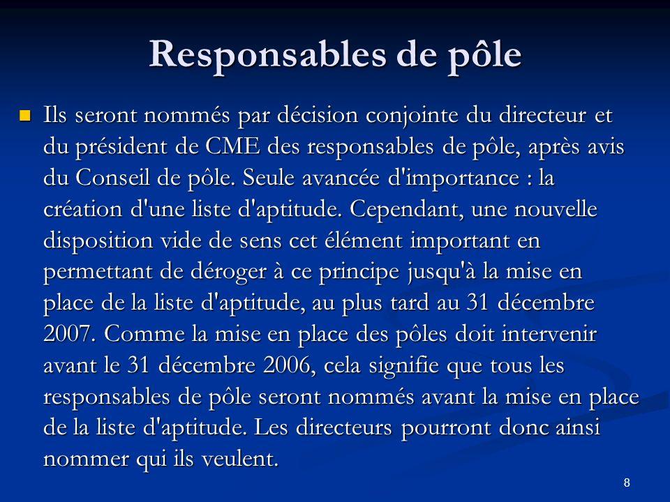 8 Responsables de pôle Ils seront nommés par décision conjointe du directeur et du président de CME des responsables de pôle, après avis du Conseil de