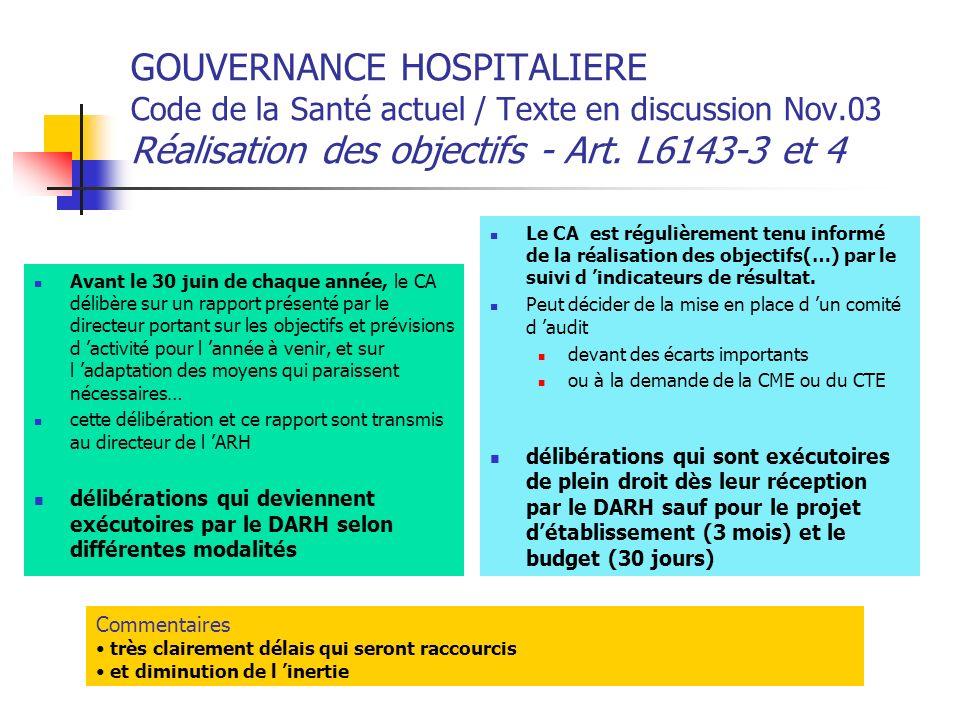 GOUVERNANCE HOSPITALIERE Code de la Santé actuel / Texte en discussion Nov.03 Réalisation des objectifs - Art. L6143-3 et 4 Avant le 30 juin de chaque