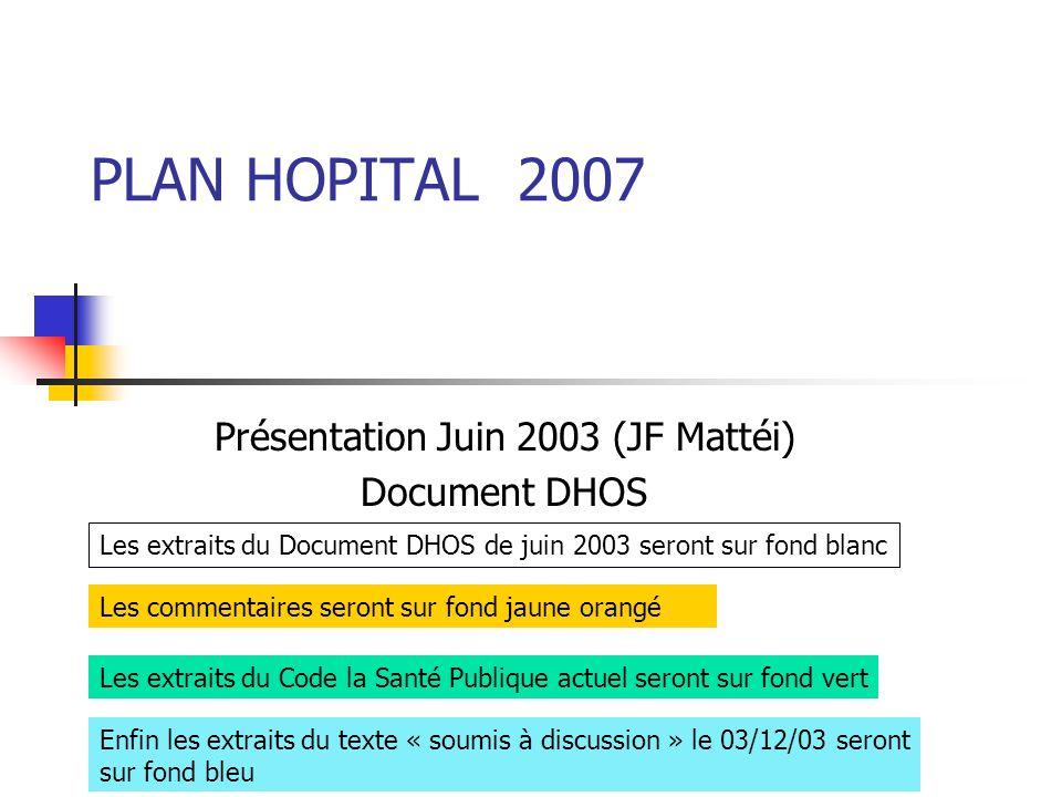 PLAN HOPITAL 2007 Présentation Juin 2003 (JF Mattéi) Document DHOS Les commentaires seront sur fond jaune orangé Les extraits du Code la Santé Publiqu