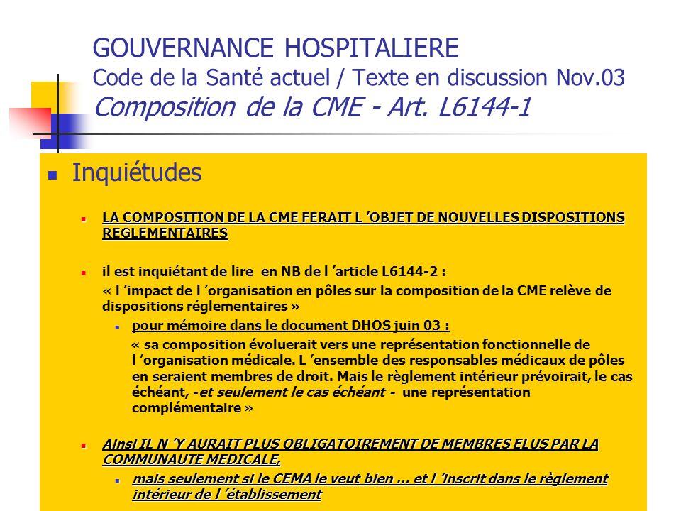 GOUVERNANCE HOSPITALIERE Code de la Santé actuel / Texte en discussion Nov.03 Composition de la CME - Art. L6144-1 Inquiétudes LA COMPOSITION DE LA CM