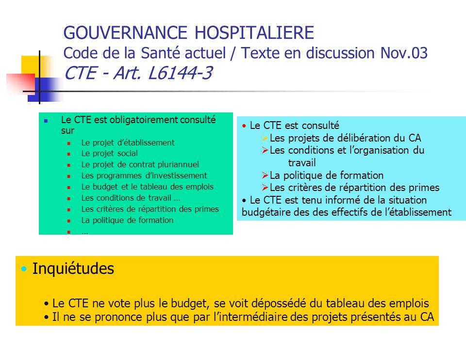 GOUVERNANCE HOSPITALIERE Code de la Santé actuel / Texte en discussion Nov.03 CTE - Art. L6144-3 Le CTE est obligatoirement consulté sur Le projet dét