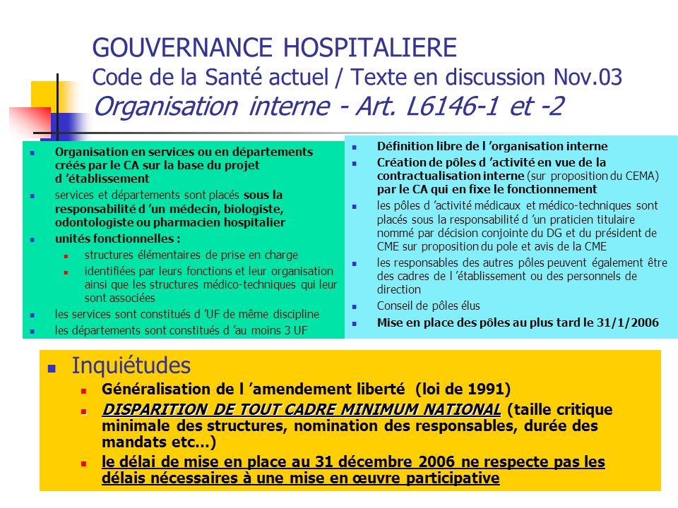 GOUVERNANCE HOSPITALIERE Code de la Santé actuel / Texte en discussion Nov.03 Organisation interne - Art. L6146-1 et -2 Organisation en services ou en
