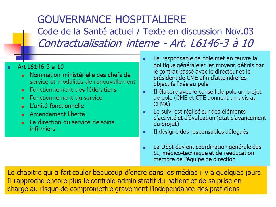 GOUVERNANCE HOSPITALIERE Code de la Santé actuel / Texte en discussion Nov.03 Contractualisation interne - Art. L6146-3 à 10 Art L6146-3 à 10 Nominati