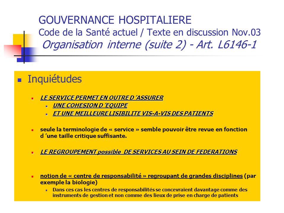 GOUVERNANCE HOSPITALIERE Code de la Santé actuel / Texte en discussion Nov.03 Organisation interne (suite 2) - Art.