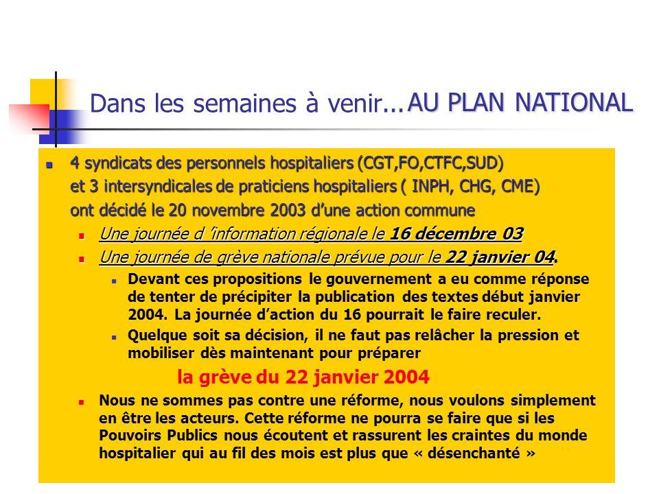 Dans les semaines à venir... 4 syndicats des personnels hospitaliers (CGT,FO,CTFC,SUD) 4 syndicats des personnels hospitaliers (CGT,FO,CTFC,SUD) et 3
