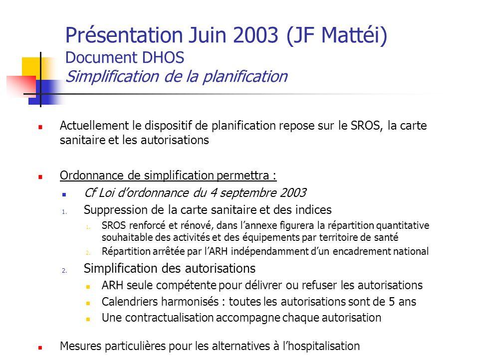 Présentation Juin 2003 (JF Mattéi) Document DHOS Simplification de la planification Actuellement le dispositif de planification repose sur le SROS, la