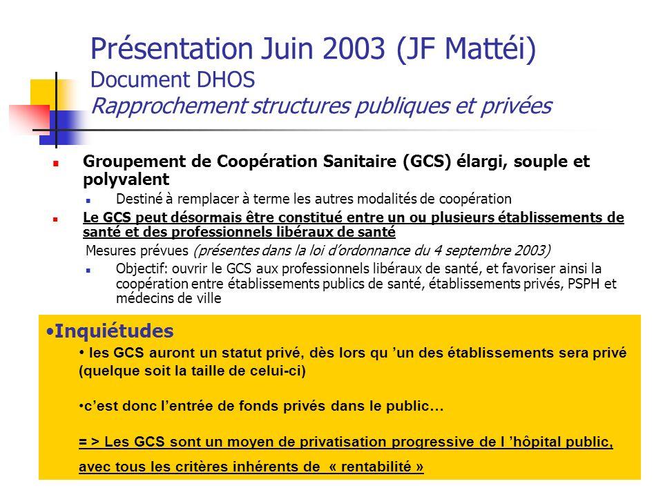 Présentation Juin 2003 (JF Mattéi) Document DHOS Rapprochement structures publiques et privées Groupement de Coopération Sanitaire (GCS) élargi, soupl