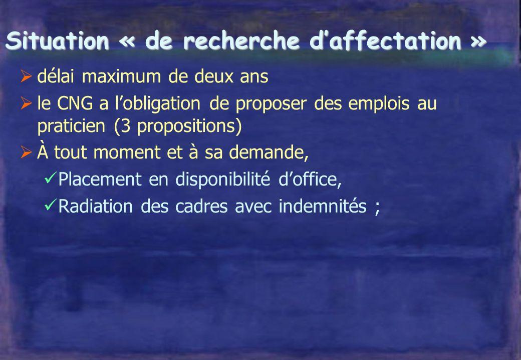 Situation « de recherche daffectation » prononcée par décision ministérielle après avis de la CSN, sur demande du directeur après avis de la CME droit de licenciement donné au directeur .